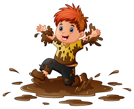 Vector illustration of Little boy playing in the mud Illustration