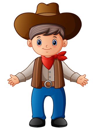 Vector illustration of Cute cartoon cowboy