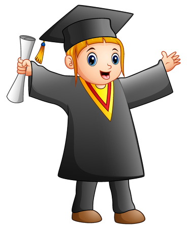 Happy girl in black graduation gown Stock Photo
