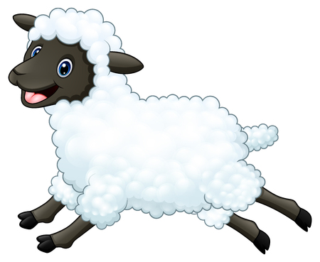 Vector illustration of cartoon happy sheep jumping on white background.