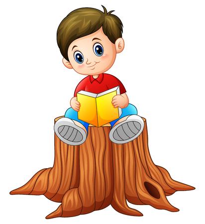 Vector illustration of little boy reading book on tree stump.