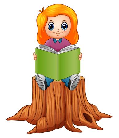 Vector illustration of little girl reading book over tree stump. Illustration