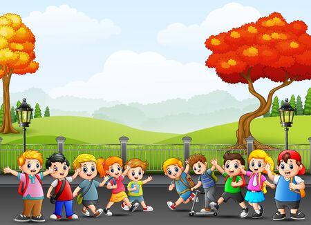 Vector illustration of cartoon happy school children on the street. Illustration