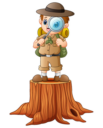 Illustration of a boy adventurer with magnifying glass on tree. Illustration