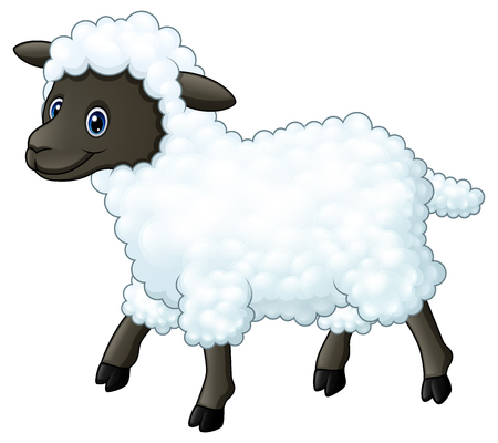 Cute sheep cartoon Banco de Imagens