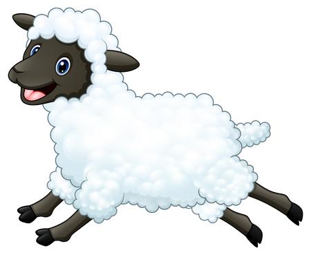 Cartoon happy sheep jumping isolated on white background Stock Photo