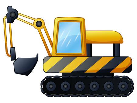 Yellow excavator isolated on white background Stock Photo