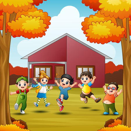 Cartoon happy kids in front house at autumns season