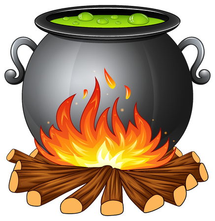 Illustration of cauldron with boiling green potion on wood fire.