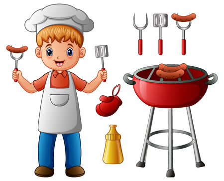 Vector illustration of Boy and BBQ party elements isolated on white background