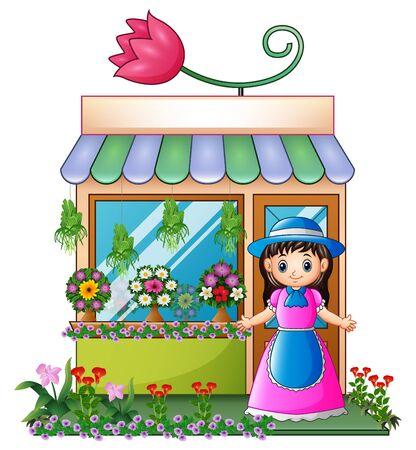 Vector illustration of Florist girl in the flower shop