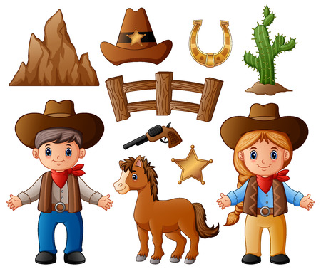 Vector illustration of Cartoon cowboy and cowgirl with wild west elements