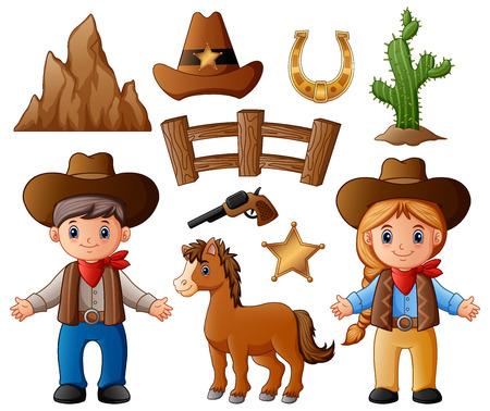 Ilustración de vector de vaquero de dibujos animados y vaquera con elementos del salvaje oeste Foto de archivo - 88896306
