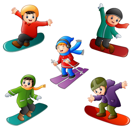 Vector illustration of Funny kids play winter sports