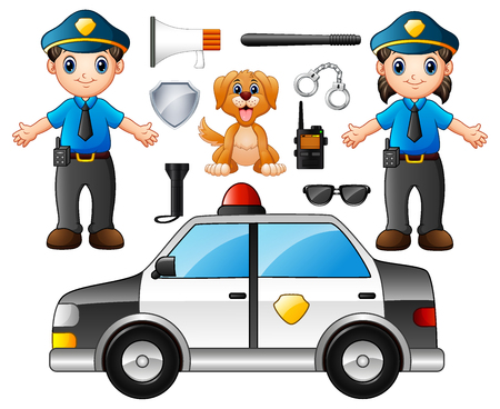 Vector illustration of Set of Police Officer with police professional equipments