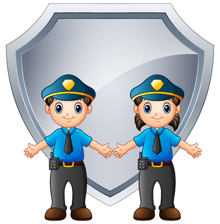 Police officers kids with big shield metal Stock Photo