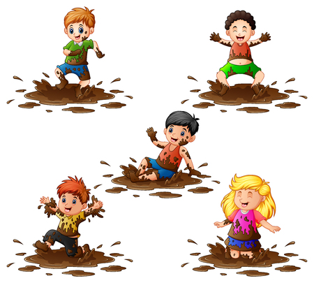 Collection of kids playing in the mud
