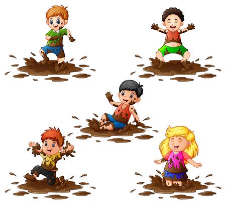 Verzameling van kinderen spelen in de modder