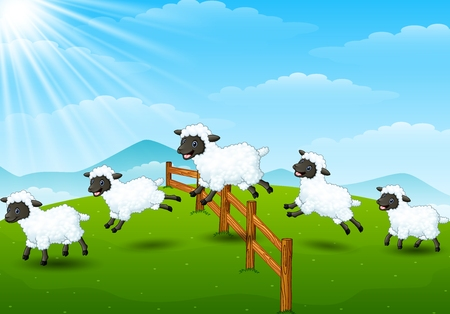 Cute cartoon sheep collection set in field background