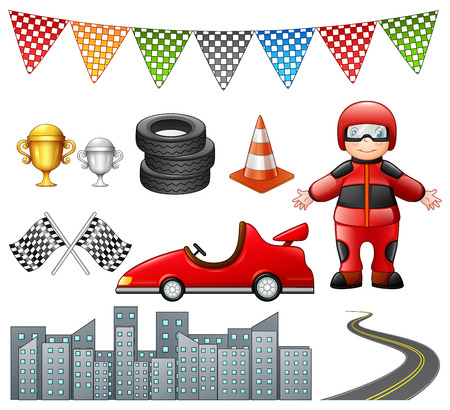 Set of car racing isolated on white background