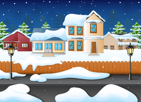 suburban street: Winter night landscape with house and snowy on the street Stock Photo