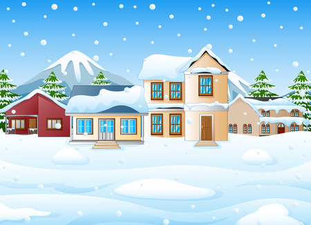 Winter landscape with mountains and snowy house Stock Photo