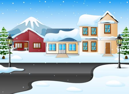 wintery: Winter mountains landscape with house and snowy street