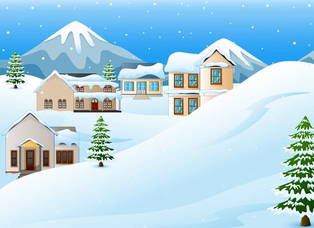 snowy hill: Winter landscape with mountains and snow covered house Stock Photo