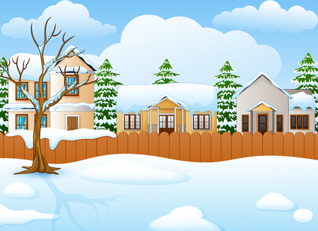 Winter landscape with snowy house and fir tree Stock Photo