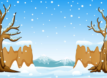 Vector illustration of Winter landscape with snow hills and mountain