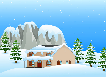 Vector illustration of Winter landscape with snowy house and snow covered rocks