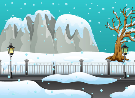 Illustration of Winter landscape with snowy rocks and snow