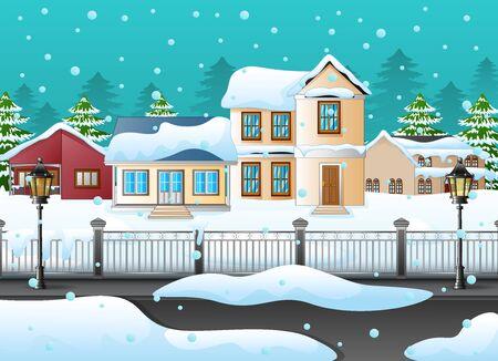 家で冬の風景のイラスト