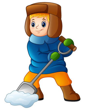 mitten: Vector illustration of Cartoon boy shoveling snow