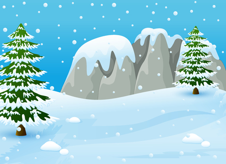 Vector illustration of Winter landscape with snowy rocks and fir trees
