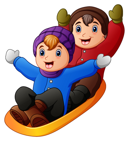 Vector illustration of Children in winter clothes playing a sledge