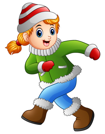 Cartoon girl wearing winter clothes Ilustrace