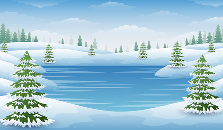 Vector illustration of Winter landscape with frozen lake and fir trees