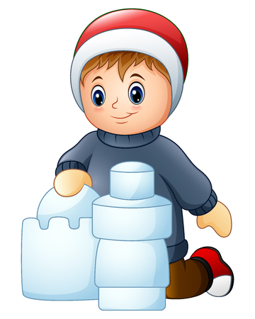Vector illustration of Cartoon boy making snow building