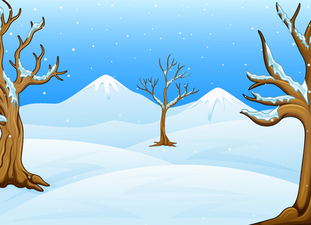 Vector illustration of Winter landscape with mountain and bare trees