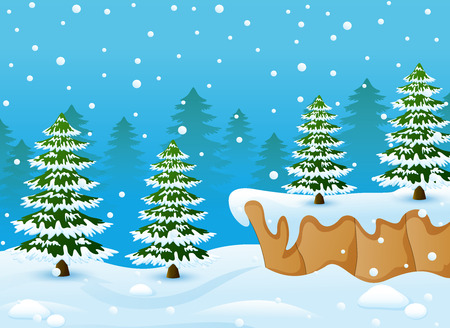 wintery: Vector illustration of Winter landscape with snowy ground and fir trees