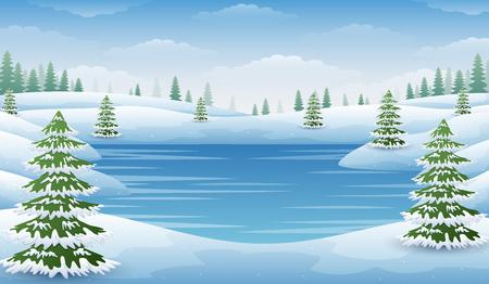 Het landschap van de winter met bevroren meer en sparren
