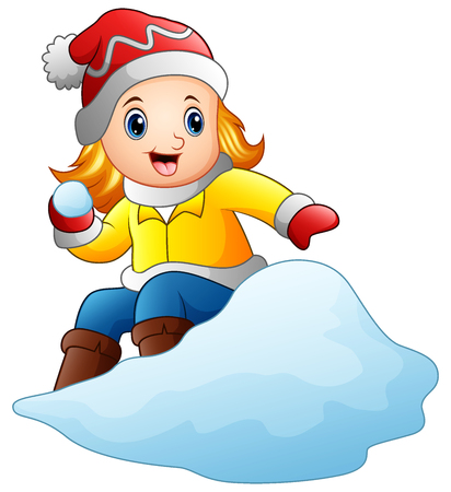 Cartoon girl playing snowboard with a snow