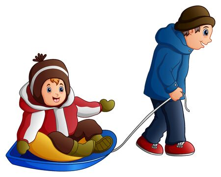 Cartoon father pulling a son on a sled