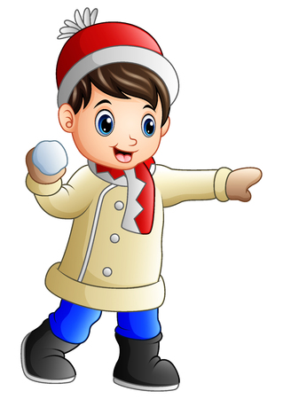 Cartoon boy throwing snowball