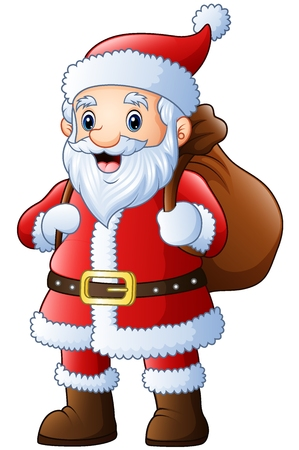 Vector illustration of Santa claus with carrying sack
