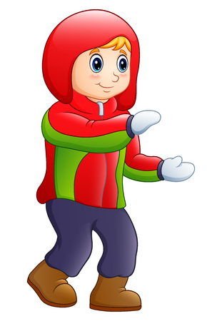 Vector illustration of a happy boy in winter clothes.
