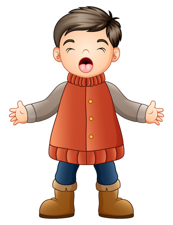 Boy wearing winter clothes eyes close, open mouth, singing, in cartoon illustration.