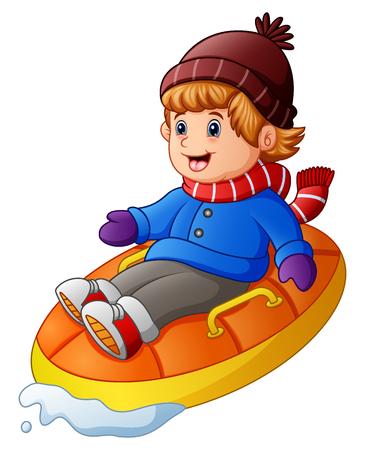 Beeldverhaal gelukkige jongen die een opblaasbare slee berijdt Stockfoto