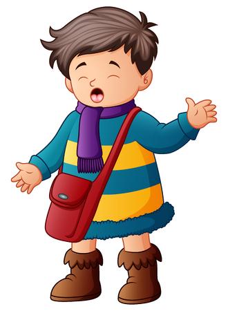 Schoolboy in winter clothes waving